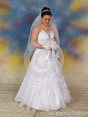 Pretty bride in wedding dress