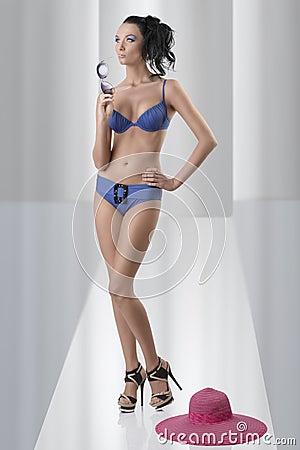 Pretty brunette in full-lenght with bikini