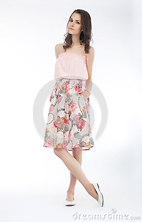 Pretty brunette girl stylish fasion model in dress
