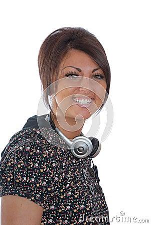 Pretty brunette with headphones