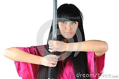 Pretty brunette ninja