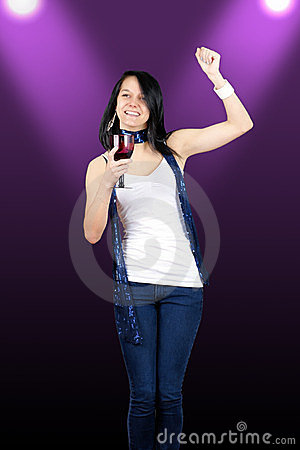 Pretty Brunette Partying Stock Photography - Image: 23843172