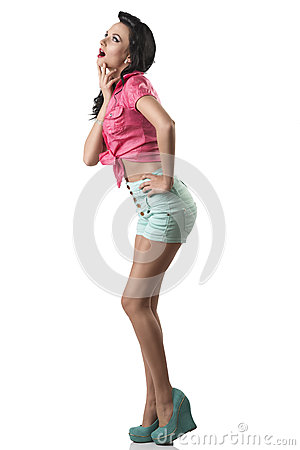 Pretty brunette with shorts with expression