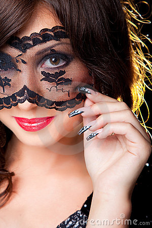 Free Pretty Brunette With Lacy Mask On Eyes Royalty Free Stock Photography - 20341307