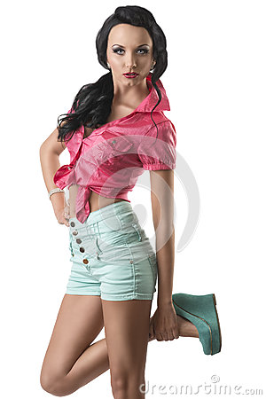 Free Pretty Brunette With Shorts She Touches Her Ankle Royalty Free Stock Photography - 25733477