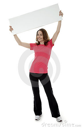 Pretty Brunette Woman Holding Blank Sign