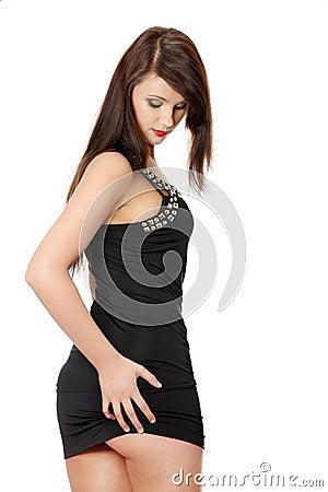 Pretty brunette woman wearing elegant dress
