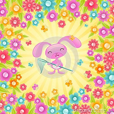 Pretty bunny with flowers.