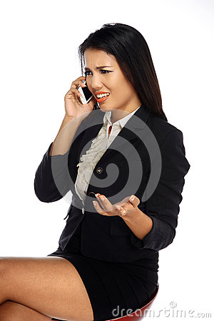 Pretty business woman, get upset calling on the phone