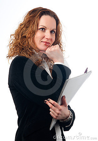 Pretty business woman holding documents
