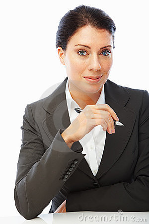 Pretty business woman holding a pen