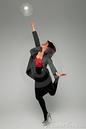 Pretty business woman. Over grey background