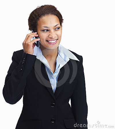 Pretty business woman using a cellphone on white