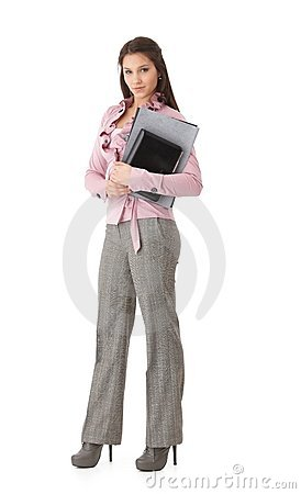 Pretty businesswoman with folders smiling
