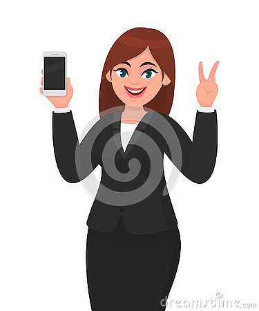Free Pretty Businesswoman Showing Blank Screen Mobile, Cell Or Smart Phone And Gesturing Or Making Victory, V Or Peace Sign With Hand. Royalty Free Stock Images - 139183469