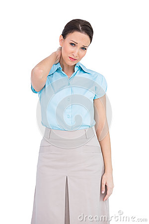 Free Pretty Businesswoman Suffering From Painful Neck Stock Image - 32969551