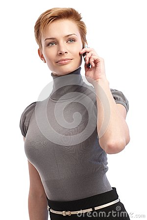 Pretty businesswoman talking on mobile