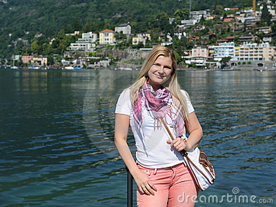 Pretty casual tourist woman in Ascona, Switzerland