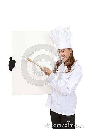 Pretty Chef Holding Menu