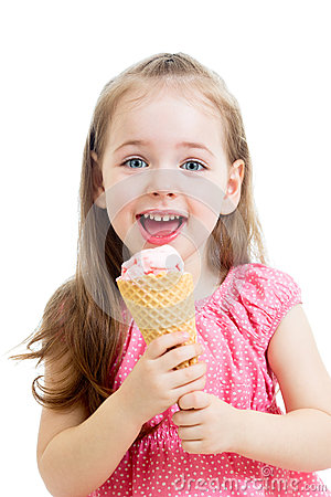 Pretty child girl eating ice cream