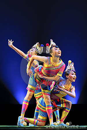Pretty chinese folk dancers Editorial Stock Photo