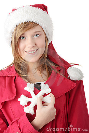 Free Pretty Christmas Teen Girl In Santa Hat Royalty Free Stock Images - 12152179