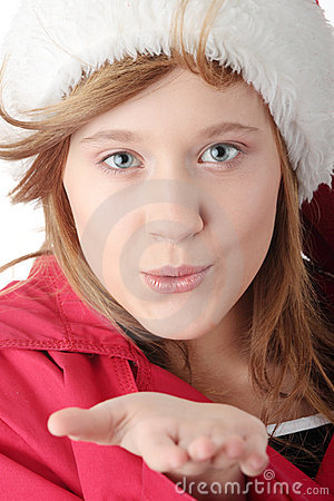 Free Pretty Christmas Teen Girl In Santa Hat Royalty Free Stock Images - 12152339