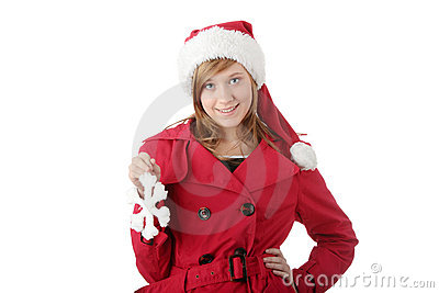 Pretty christmas teen girl in santa hat