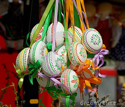 Pretty Colored Easter Eggs hanging on Ribbons
