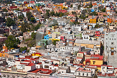 Pretty colorful buildings in Guanajuato Mexico Editorial Stock Image