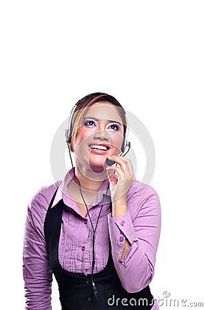 Pretty contact centre woman