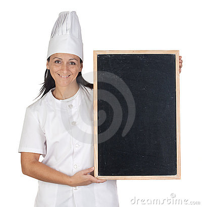 Pretty cook girl with blank slate