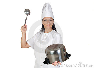 Pretty cook girl hitting a pot