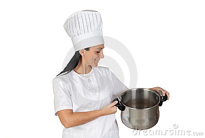 Pretty cook girl with a pot