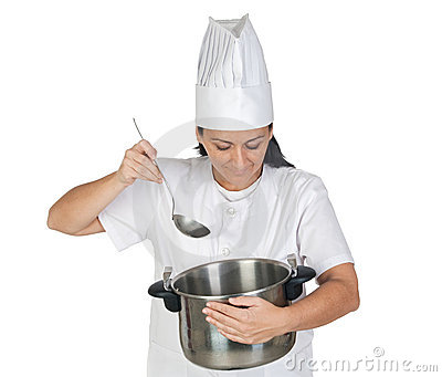 Pretty cook girl thinking with a pot and ladle