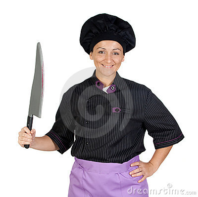 Pretty cook woman with big knife