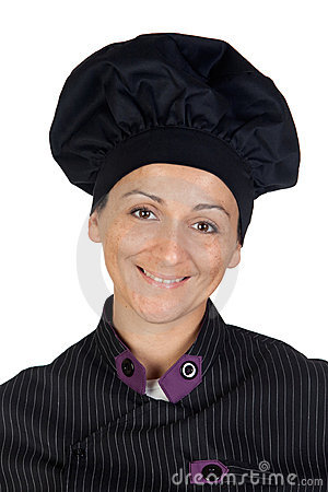 Pretty cook woman with black uniform