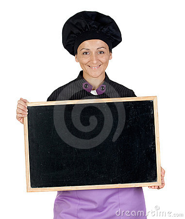 Pretty cook woman with blackboard