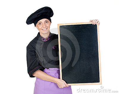 Pretty cook woman with blackboard