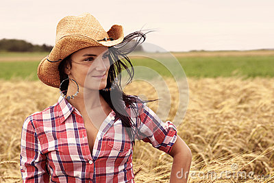 Pretty cowgirl smiling