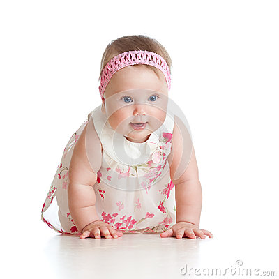 Pretty crawling baby girl on white background