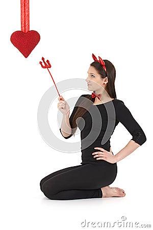 Pretty devil at valentine s day