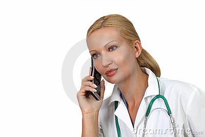 Pretty doctor on the phone