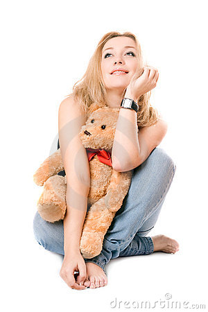 Pretty dreamy blonde with a teddy bear