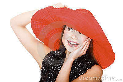 Pretty excited  woman in red hat