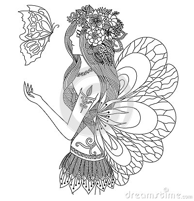 pretty fairy girl looking at flying butterfly design for coloring book for adult stock vector. Black Bedroom Furniture Sets. Home Design Ideas
