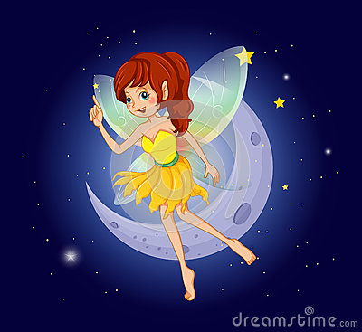 A pretty fairy at the sky near the moon