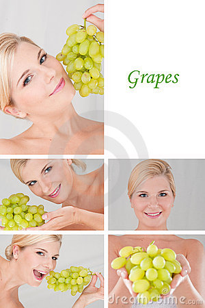Pretty female with bunch or grapes collage