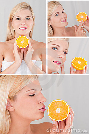 Pretty female with citrus orange fruit collage
