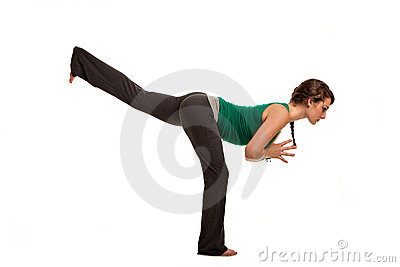 Pretty Female Teenager Practicing Yoga